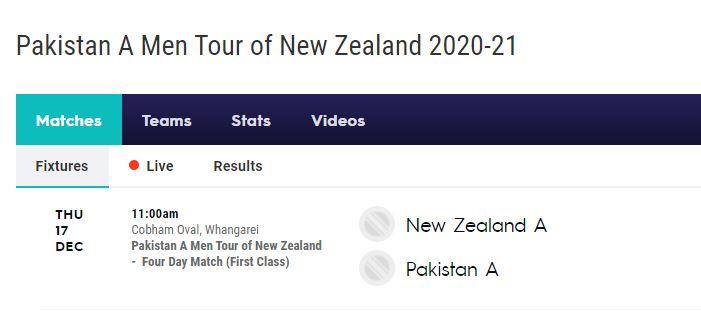 PAK A vs NZ A Live Score streaming