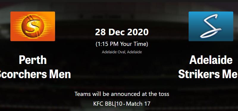Perth Scorchers vs Adelaide Strikers