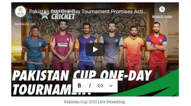 Pakistan cup 2020 live streaming NOR vs BAL Live