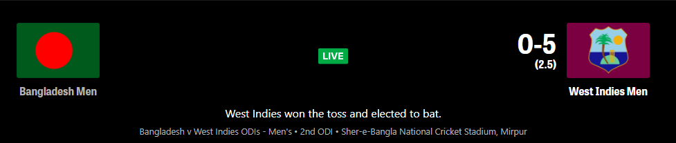 Bangladesh vs West Indies 2nd ODI live Streaming Schedule, TV Channel List , Live Score , Live Telecast