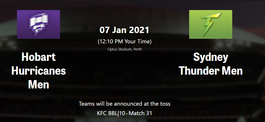 Big Bash League 2020-21-BBL10 Match 31 Sydney Thunder vs Hobart Hurricanes Head to Head Stats, Point Table, Top players, Match Preview, Prediction