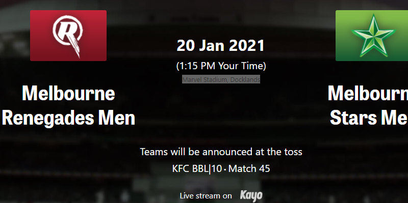 Melbourne Renegades vs Melbourne Stars MAtch 45 BBL10 Match preview , dream11
