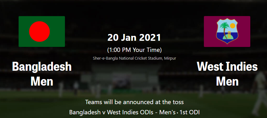Bangladesh vs West Indies 2nd ODI live Streaming Schedule, TV Channel List , Live Score , Live Telecast - Squad, Match schedule - TheWeeklySports.com