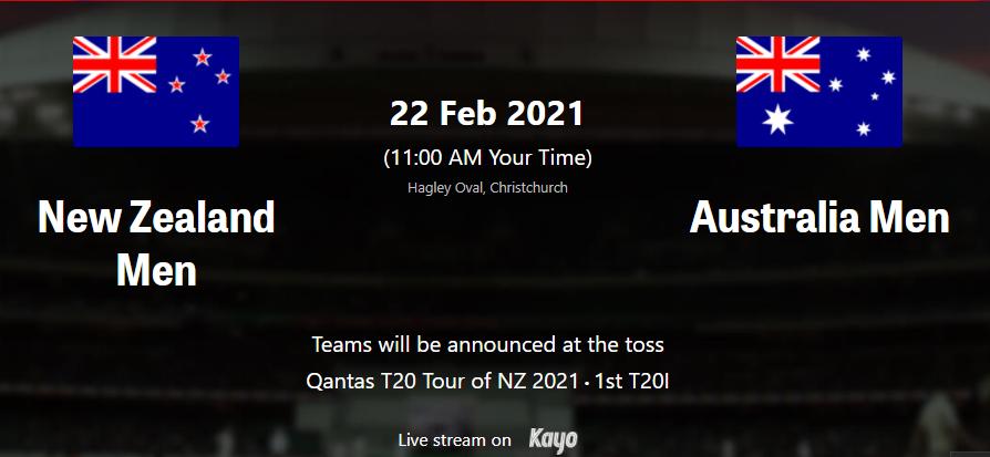 AUS vs NZ 1st T20I Live Streaming TV Channels Guide|Where To Watch Live Australia vs New Zealand 1st T20I