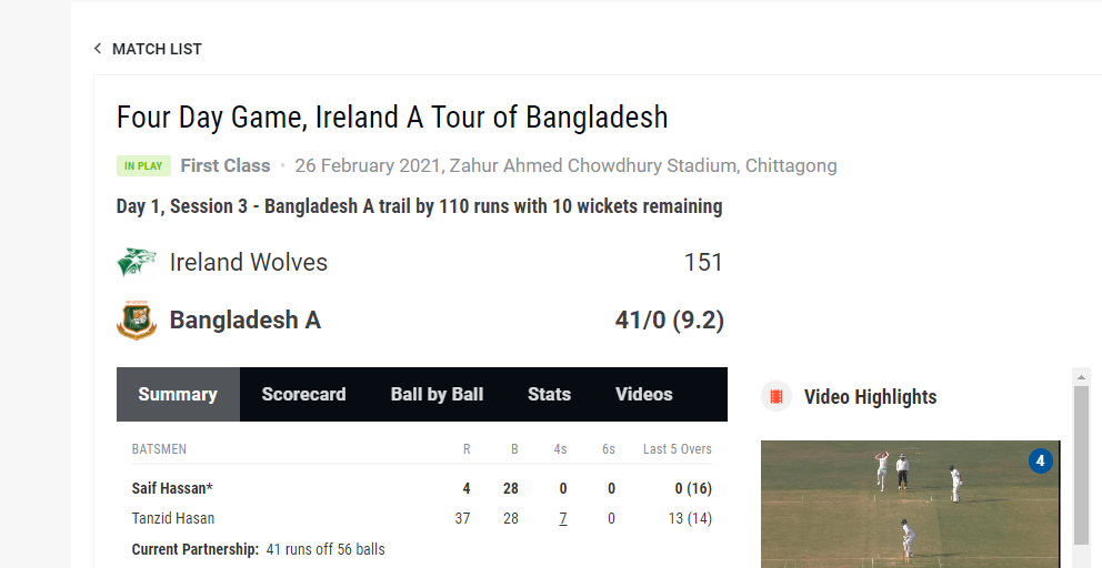 Ireland Wolves vs Bangladesh A – Test Live Streaming – 4 day Live