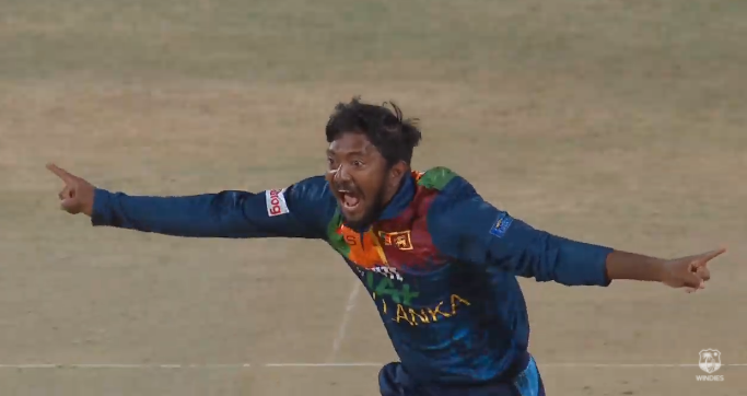 Akila Dananjaya Hat trick -SL vs WI 1st T20I -4th Sri Lankan T20I HatTrick