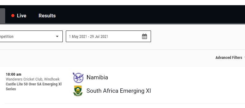 South Africa Emerging vs Namibia Live Streaming - Scorecard and Videos